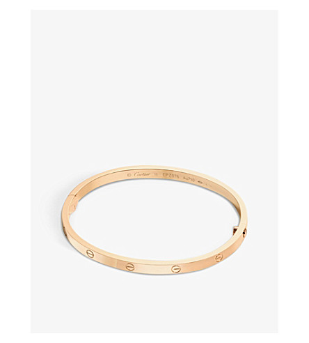 cartier love 18ct pink gold bracelet small selfridges com