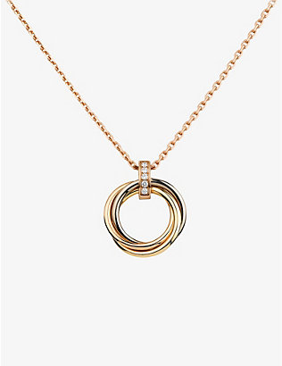 CARTIER: Trinity small 18ct pink, yellow and white-gold necklace