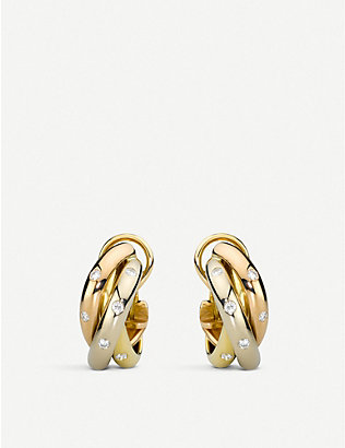 CARTIER: Trinity 18ct gold and diamond earrings