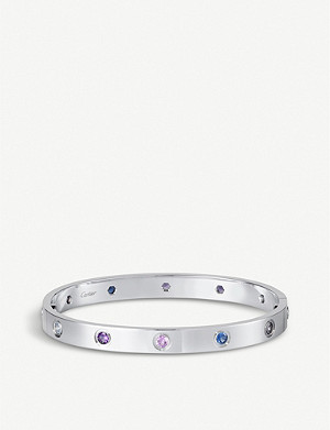 CARTIER LOVE 18ct white-gold, aquamarine, sapphire, spinel and amethyst bracelet