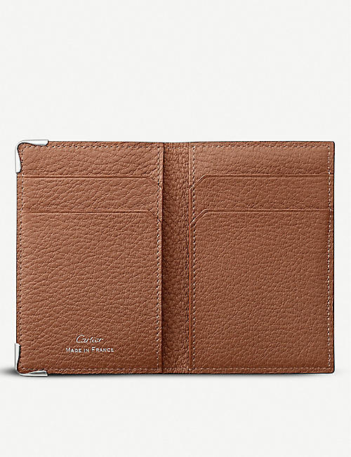 CARTIER Must de Cartier calf leather and stainless steel folding card holder