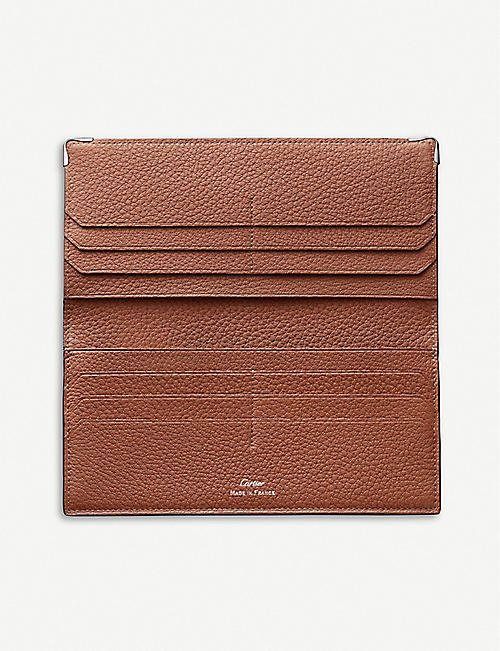 CARTIER Must de Cartier calf leather and stainless steel card holder