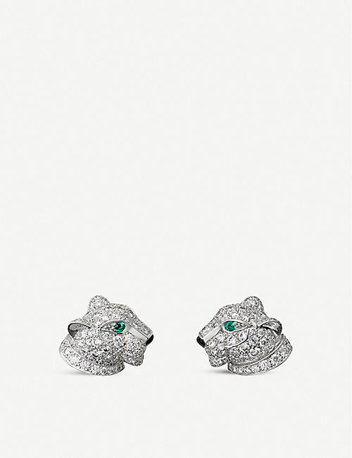 CARTIER: Panthère de Cartier 18ct white-gold, diamond, onyx and emerald earrings