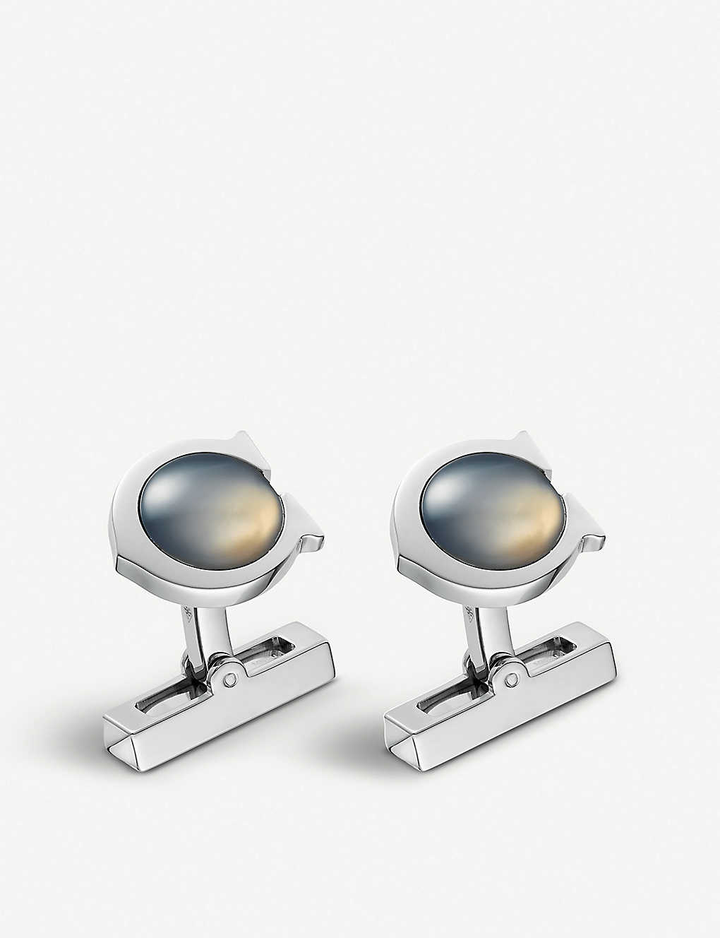 CARTIER: C de Cartier sterling silver and chalcedony cufflinks