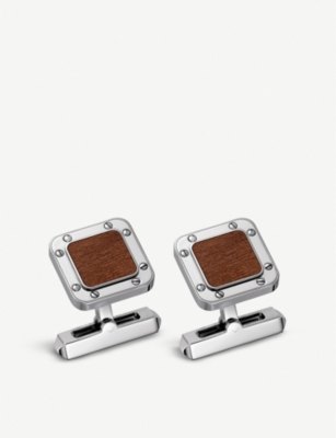 CARTIER Santos de Cartier sterling silver and kotibe wood cufflinks