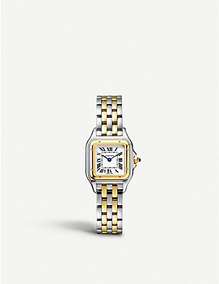 CARTIER: Panthère de Cartier small 18ct yellow-gold and stainless steel watch