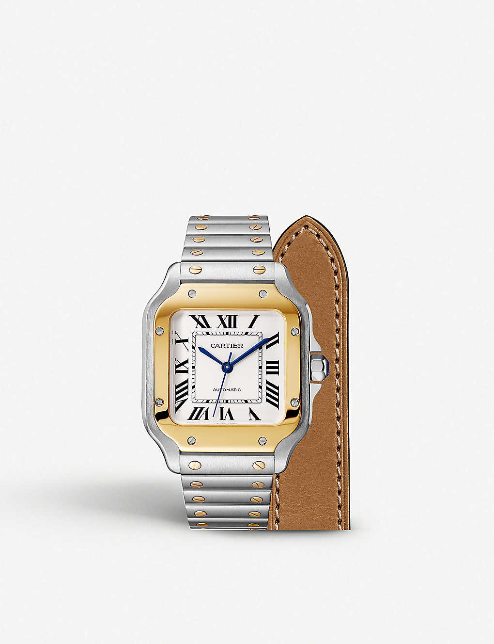 06734c4af CARTIER Santos de Cartier 18ct gold and stainless steel automatic watch