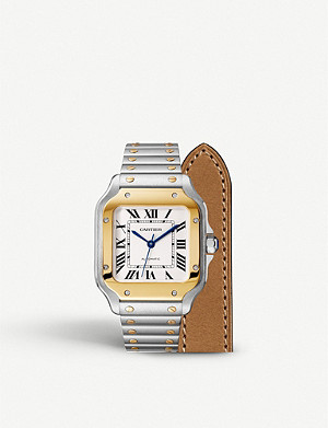 CARTIER Santos de Cartier 18ct gold and stainless steel automatic watch