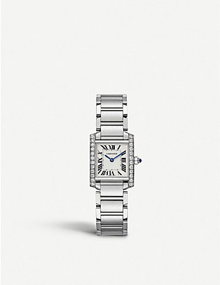 CARTIER: Tank francaise steel and diamond watch
