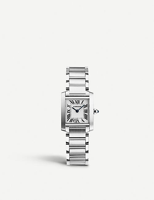 CARTIER: Tank Française stainless steel watch