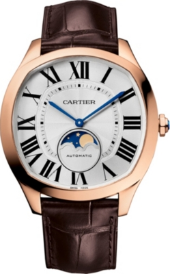 CARTIER Drive de Cartier Moonphase 18ct pink-gold and alligator-skin watch