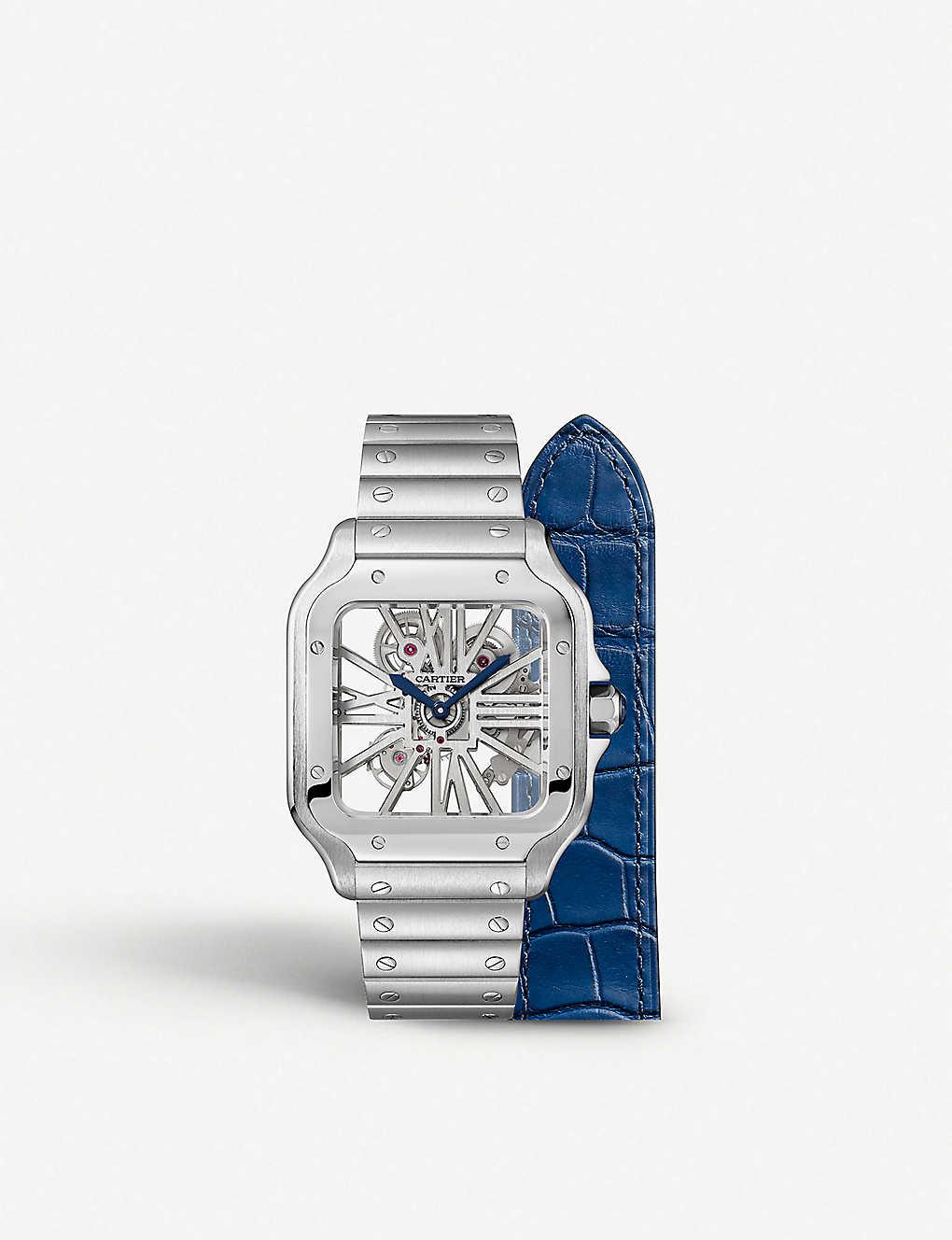 18d05a566 CARTIER - Santos De Cartier Skeleton steel manual watch | Selfridges.com