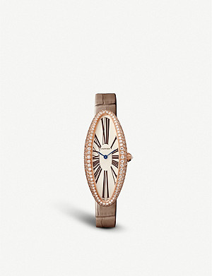 CARTIER CRWJBA0006 Baignoire Allong?e medium 18ct rose-gold, diamond and alligator leather watch