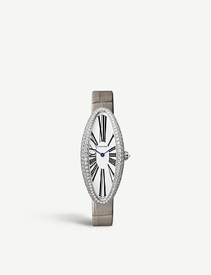 CARTIER CRWJBA0007 Baignoire Allongée medium 18ct white-gold, diamond and alligator leather watch