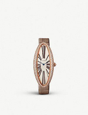 CARTIER CRWJBA0008 Baignoire Allongée XL 18ct rose-gold, diamond and alligator leather watch