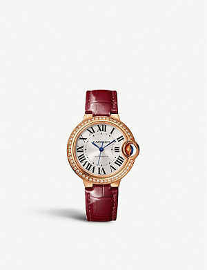 CARTIER CRWJBB0033 Ballon Bleu de Cartier 18ct rose-gold, diamond and alligator strap watch