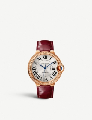 CARTIER CRWJBB0034 Ballon Bleu de Cartier 18ct rose-gold, diamond and leather strap watch