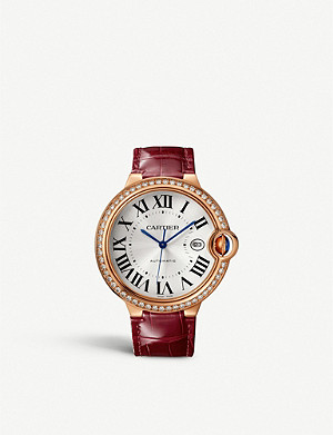 CARTIER CRWJBB0035 Ballon Bleu de Cartier 18ct rose-gold, diamond and alligator strap watch
