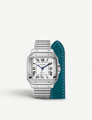 CARTIER Santos de Cartier steel and calfskin watch
