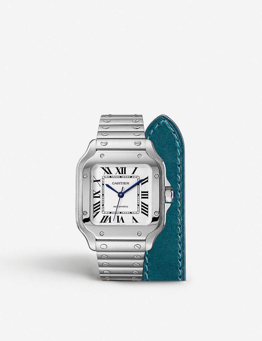 56c7f56b18 CARTIER - Santos de Cartier steel and calfskin watch