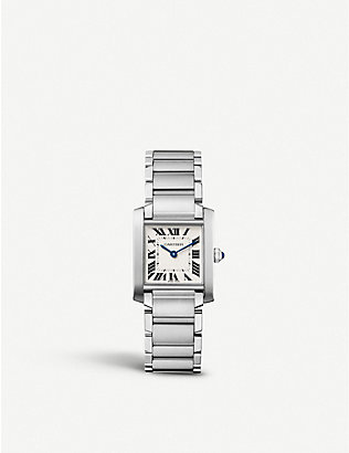 CARTIER: Tank Francaise stainless steel watch