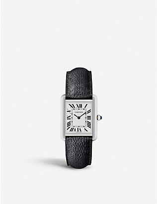 CARTIER: Tank Solo steel and leather watch
