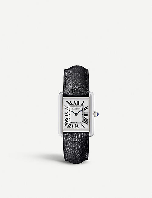 CARTIER Tank Solo steel and leather watch