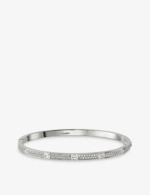 CARTIER LOVE 18ct white-gold and diamond pave bracelet small
