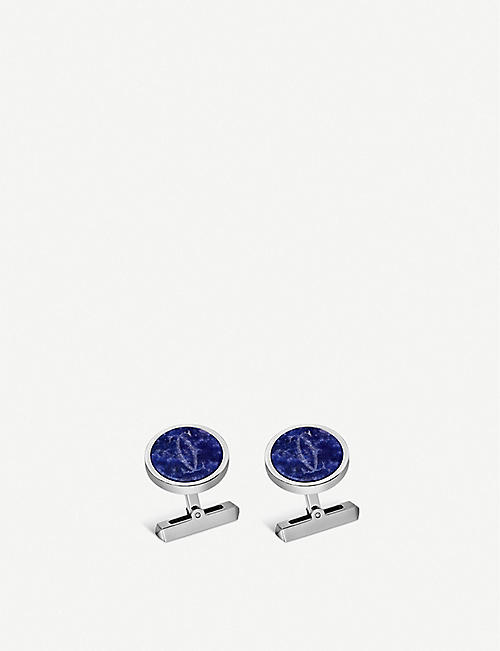 CARTIER: Double C sterling silver and sodalite cufflinks