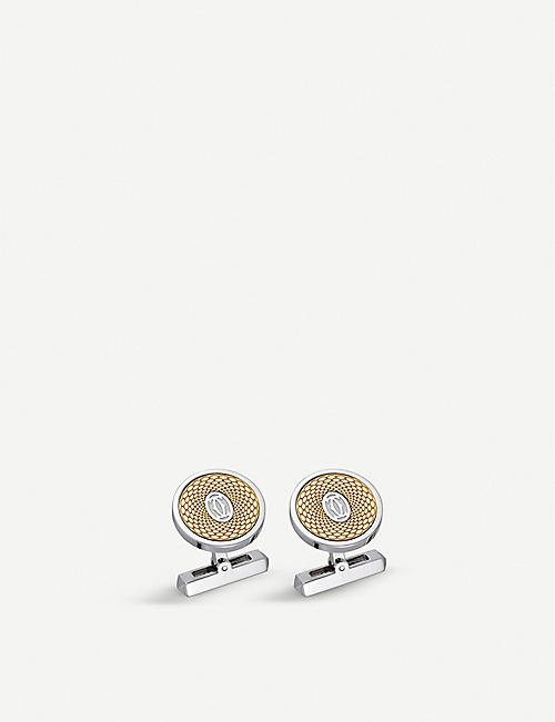 CARTIER: Double C 18ct yellow-gold and sterling silver cufflinks