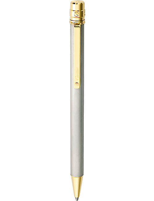 CARTIER Santos de Cartier 18ct yellow-gold and steel ballpoint pen
