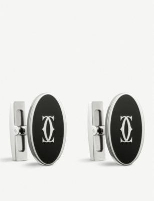 CARTIER Double C decor oval cufflinks