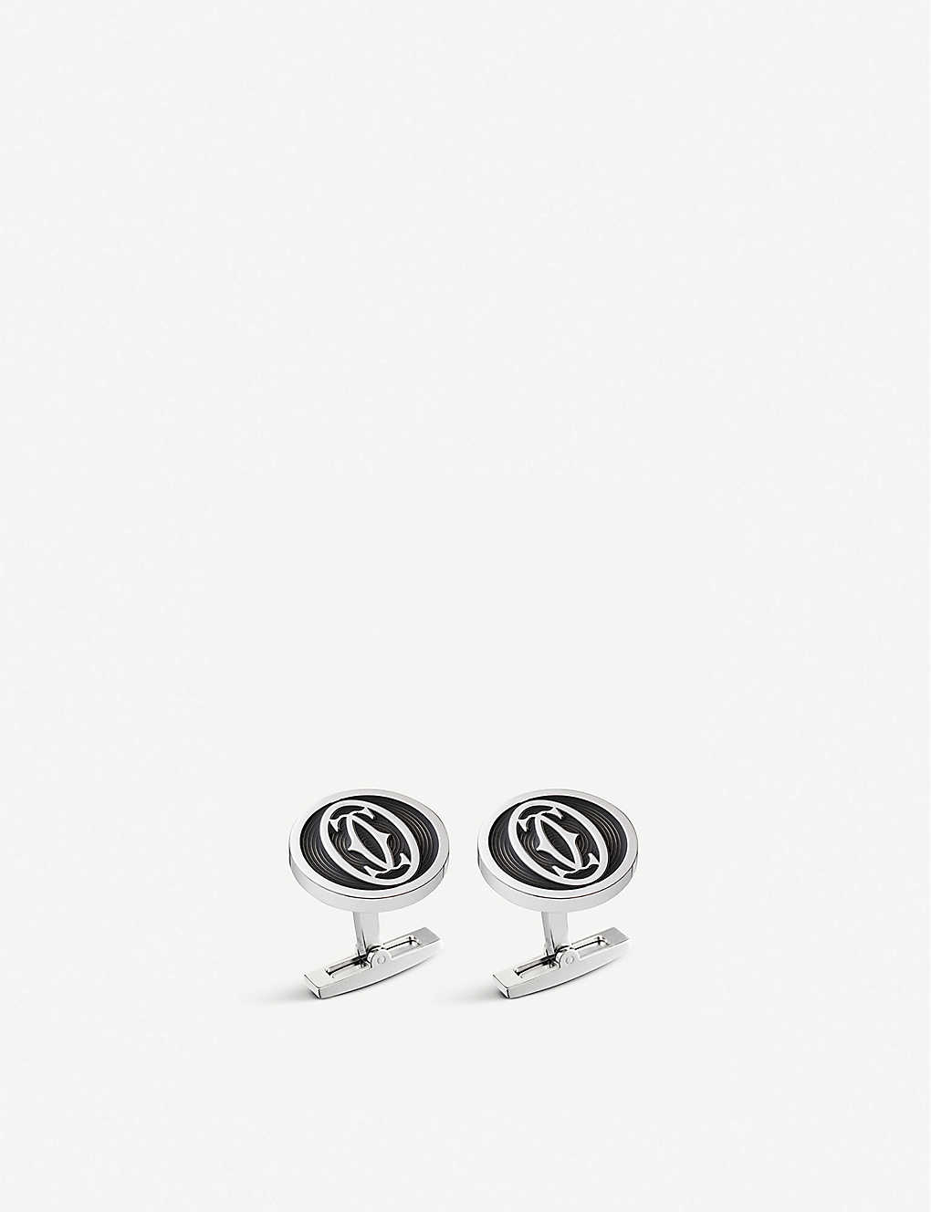 CARTIER: Large logo decor cufflinks