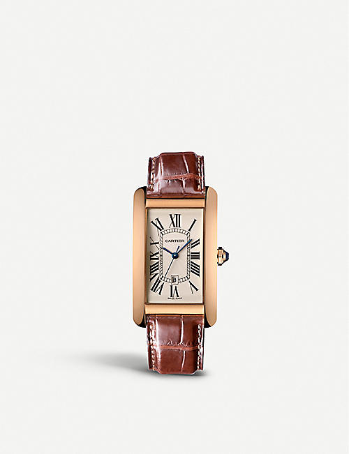CARTIER Tank Américaine 18ct yellow-gold and alligator large watch
