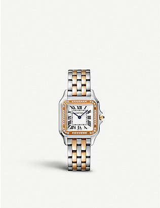 CARTIER: W3PN0007 Panthère de Cartier 18ct rose-gold, stainless steel and diamond watch