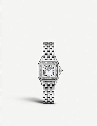 CARTIER: W4PN0007 Panthère de Cartier stainless steel and diamond watch
