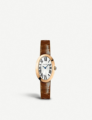 CARTIER Baignoire 18ct gold, sapphire and leather small watch