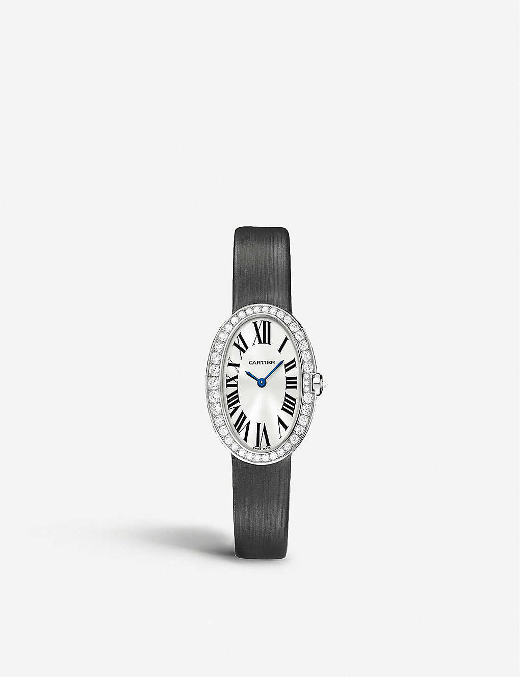 CARTIER: Baignoire 18ct white-gold and diamond small watch