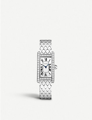 CARTIER: Tank Américaine 18ct white-gold and diamond small watch