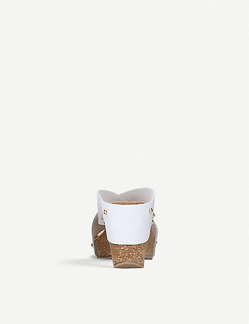 CARVELA COMFORT Sooty leather and cork wedge sandals