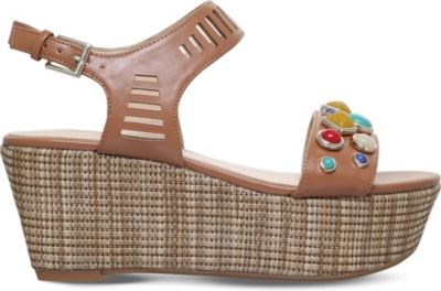 NINE WEST Feeah wedge leather sandals