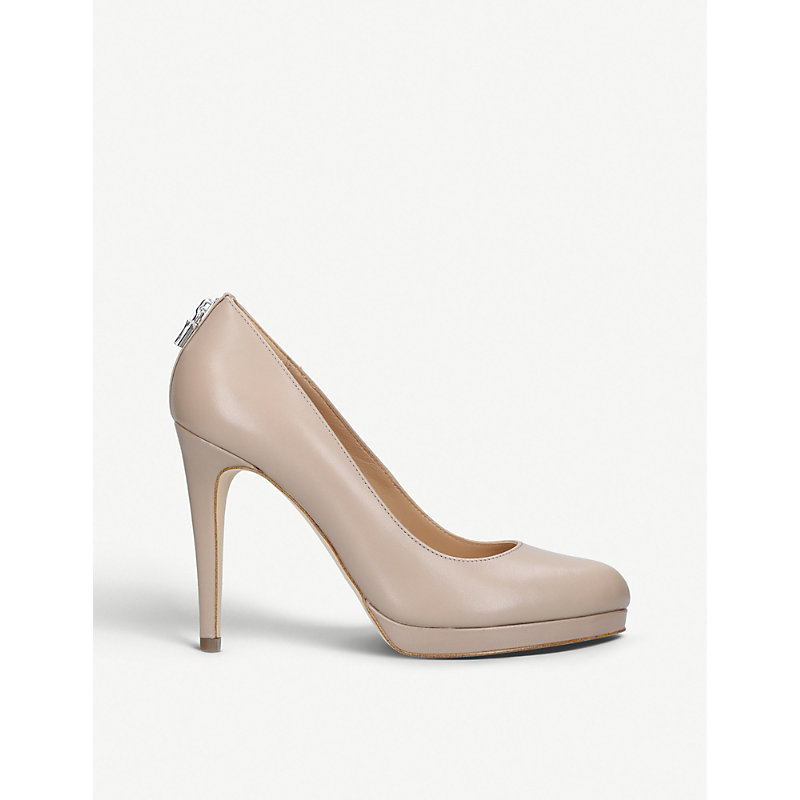 Antoinette Leather Heeled Courts, Brown