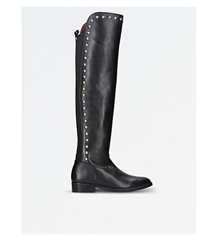 Ladies Black Elegant Volt Leather Stud Knee High Boots
