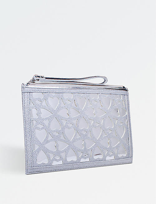 MISS KG Hearty glitter clutch bag