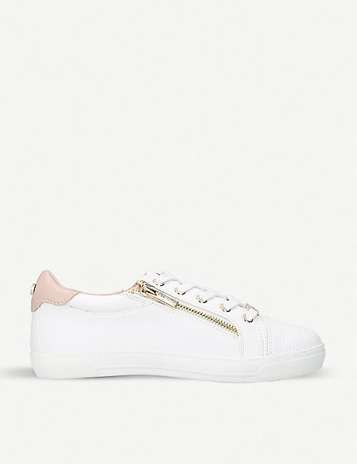 CARVELA: Jagged zip-detail faux-leather trainers