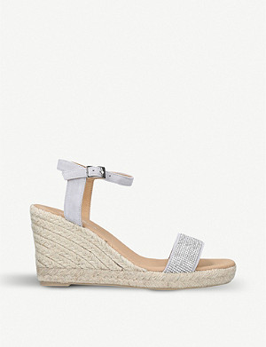 CARVELA Krystal embellished suede wedge sandals