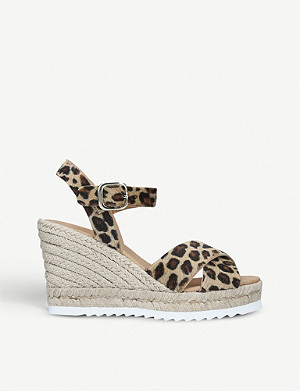 CARVELA Koy leopard-print leather wedge sandals