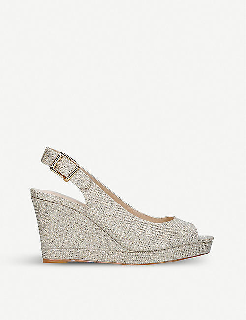 1f1b9f19f05e NINE WEST - Dionne glitter wedge sandals