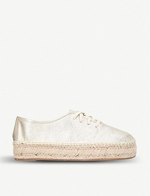 NINE WEST Gingerbred metallic leather flatform espadrilles