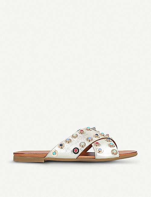 CARVELA: Koncern studded metallic leather sliders
